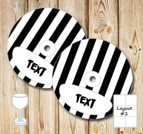Black and white striped glass markers  | Free printable glass markers