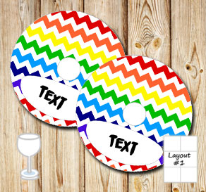 Chevron pattern glass markers in rainbow colors  | Free printable glass markers