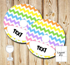 Chevron pattern glass markers in light rainbow colors  | Free printable glass markers