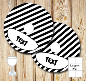 Black and white striped glass markers  | Free printable for Halloween