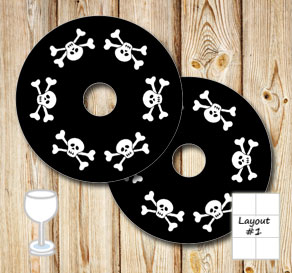 Black glass markers with skulls  | Free printable glass markers