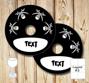Black glass markers with skulls and sabers with tex...  | Free printable glass markers
