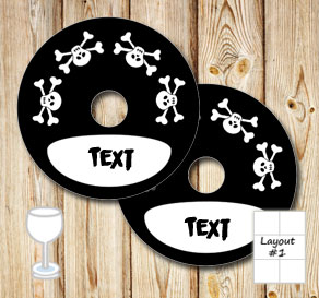 Black glass markers with skulls and text in a frame  | Free printable glass markers
