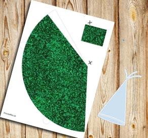 Green glitter party hat  | Free printable for New Years Eve