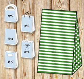 Dark green and white striped gift bag with dotted s...  | Free printable gift bag