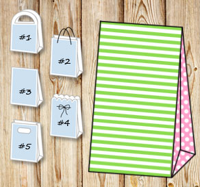 Green and white striped gift bag with light pink do...  | Free printable gift bag