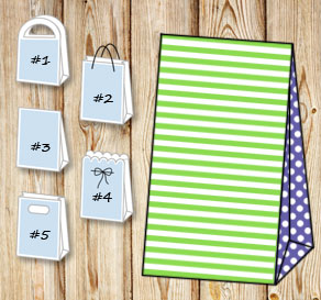 Green and white striped gift bag with dark purple d...  | Free printable gift bag