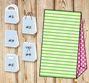 Green and white striped gift bag with pink dotted s...  | Free printable gift bag