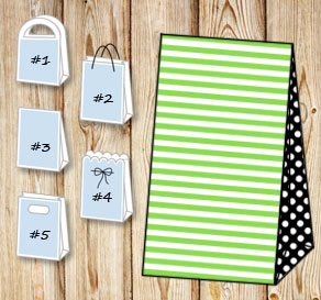 Green and white striped gift bag with black dotted ...  | Free printable gift bag
