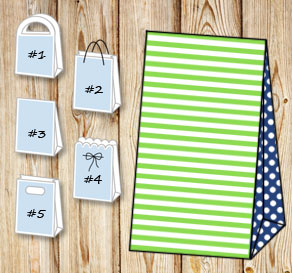 Green and white striped gift bag with dark blue dot...  | Free printable gift bag