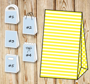 Yellow and white striped gift bag with dotted sides  | Free printable gift bag