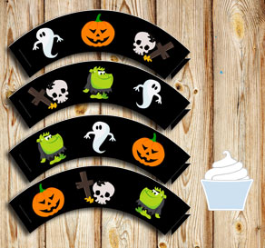 Cupcake wrappers with Hallooween figures  | Free printable for Halloween