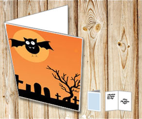 Halloween card: Bat  | Free printable for Halloween