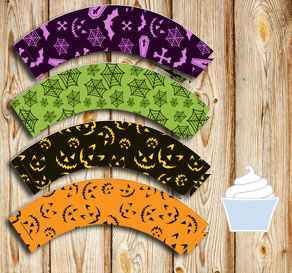 Cupcake wrappers in different colors and Halloween ...  | Free printable for Halloween