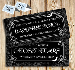 Placement cards with Halloween drinks  | Free printable for Halloween
