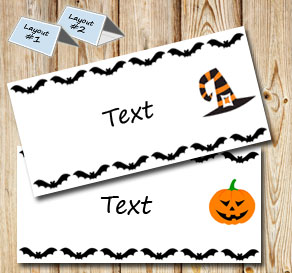 Placementcards with bats and halloween figures  | Free printable for Halloween