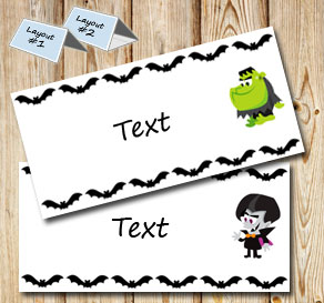Placementcards with bats and halloween figures 2  | Free printable for Halloween