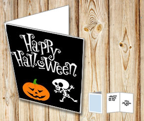 Halloween card with pumpkin and skeleton  | Free printable for Halloween