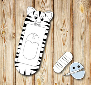 Hand puppet: Striped cat  | Free printable toy