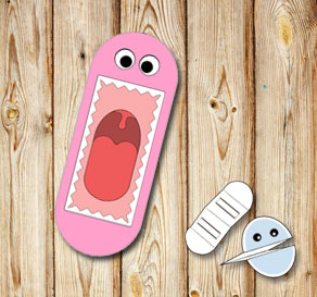 Hand puppet: Pink monster with teeth  | Free printable toy