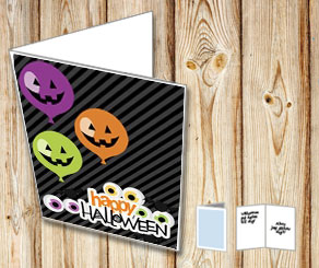 Happy Halloween card with balloons  | Free printable for Halloween