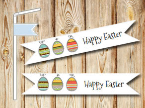 Straw decorations: Happy Easter Eggs  | Free printable for Easter