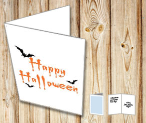 Happy Halloween card with bats  | Free printable for Halloween