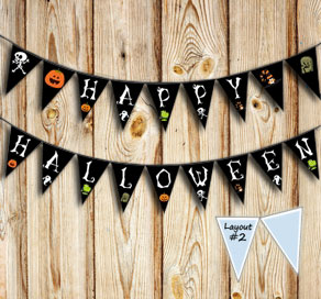 Small pennants with HALLOWEEN letters  | Free printable for Halloween