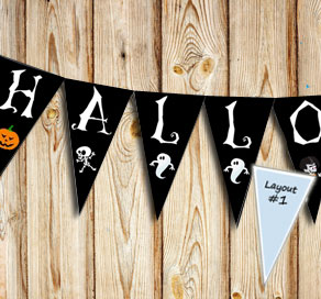 Big pennants with HALLOWEEN letters  | Free printable for Halloween