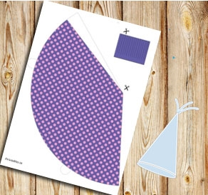 Purple partyhat with pink dots  | Free printable party hat