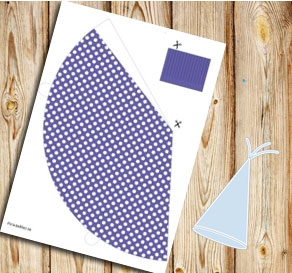 Purple partyhat with white dots  | Free printable party hat
