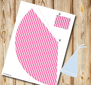 Pink glitter chevron partyhat  | Free printable party hat