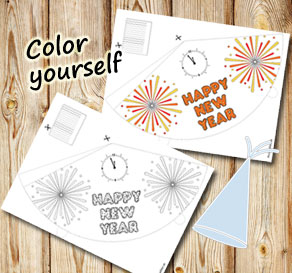 Party hat Happy New Year 2  | Free printable for New Years Eve