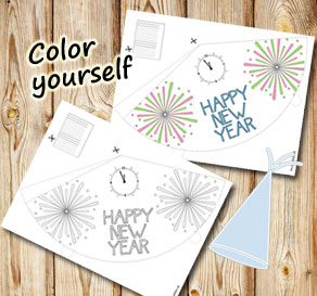 Party hat Happy New Year 6  | Free printable for New Years Eve