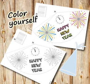 Party hat Happy New Year 4  | Free printable for New Years Eve