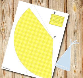 Yellow dotted party hat  | Free printable party hat