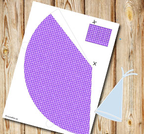 Purple glitter dotted partyhat  | Free printable party hat