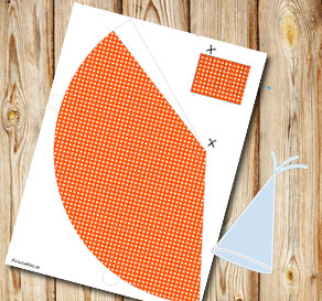 Orange dotted party hat  | Free printable party hat