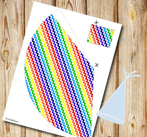 Rainbow colored chevron pattern party hat  | Free printable party hat