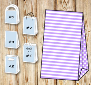 Light purple and white striped gift bag with dotted...  | Free printable gift bag
