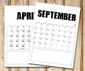 Month calendar: Bold text with box under  | Free printable calendar: