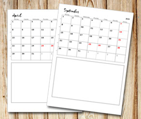 Month calendar: Small handwritten month and box under  | Free printable calendar: