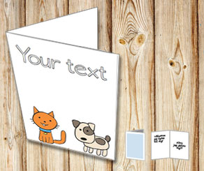 Card wit a dog and a cat  | Free printable card