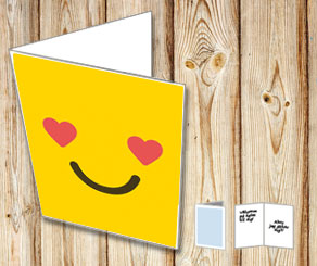 Card with loving emoji  | Free printable for Valentines day