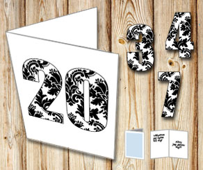 White card with patterned numbers   | Free printable card