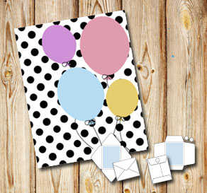 White envelope with black dots and balloons  | Free printable envelopes