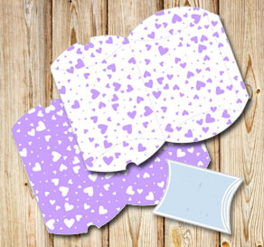 Pillow boxes with light purple hearts  | Free printable for Valentines day