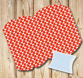 Pillow boxes with red hearts 2  | Free printable for Valentines day
