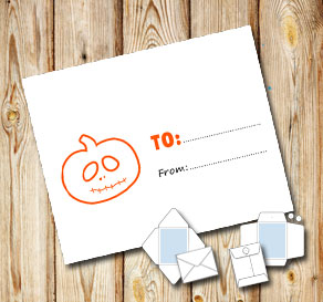 White envelope with a pumpkin (to/from)  | Free printable for Halloween