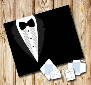 Envelope with a black tuxedo  | Free printable envelopes